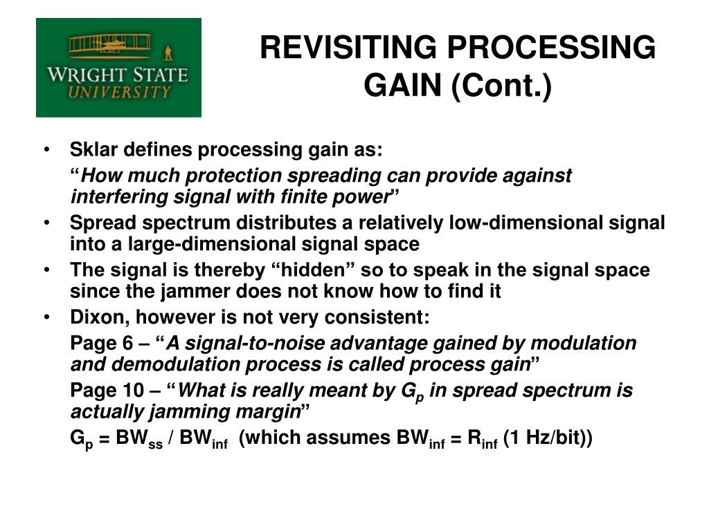 REVISITING PROCESSING GAIN (Cont.)