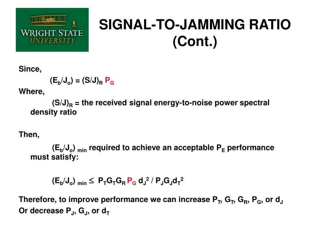 SIGNAL-TO-JAMMING RATIO (Cont.)