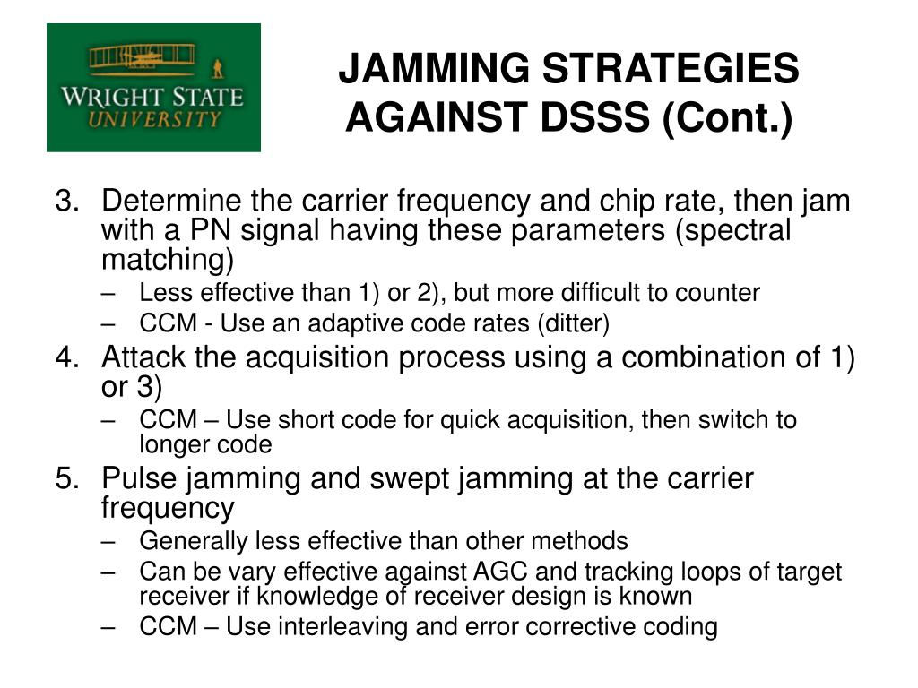 JAMMING STRATEGIES AGAINST DSSS (Cont.)