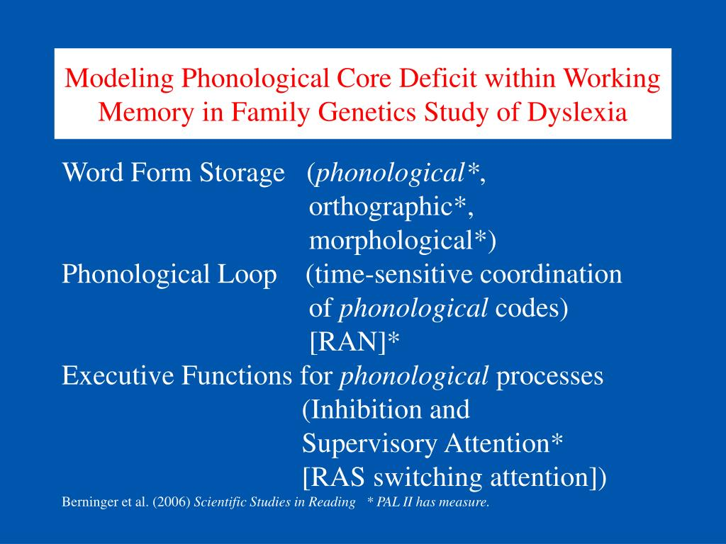 dyslexia phonological deficit Dyslexia is a neurocognitive deficit that is specifically related to the reading and spelling processes typically, children classified as dyslexic are reported to be bright and capable in other intellectual domains current research indicates that the vast majority of children with dyslexia have phonological core deficits.