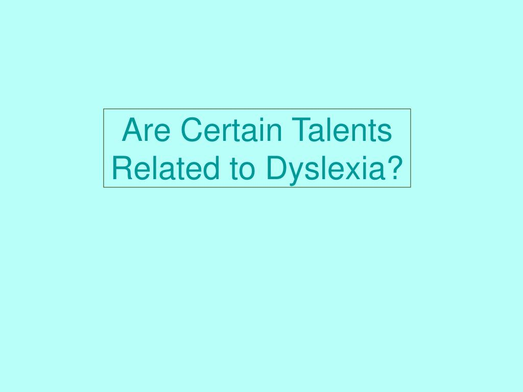 Are Certain Talents