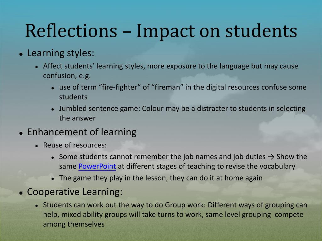 Reflections – Impact on students