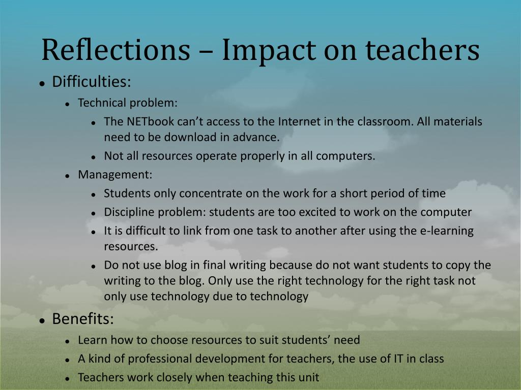 Reflections – Impact on teachers