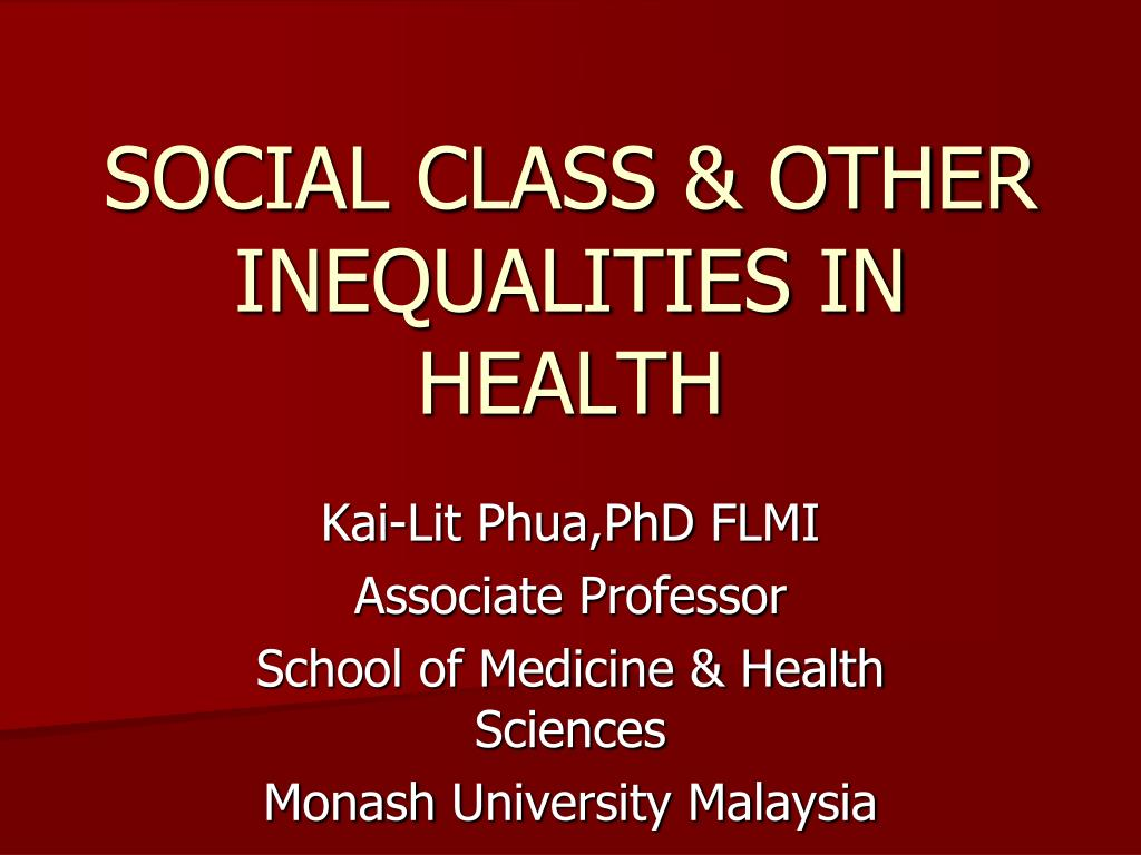 social class other inequalities in health l.