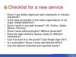 checklist for a new service
