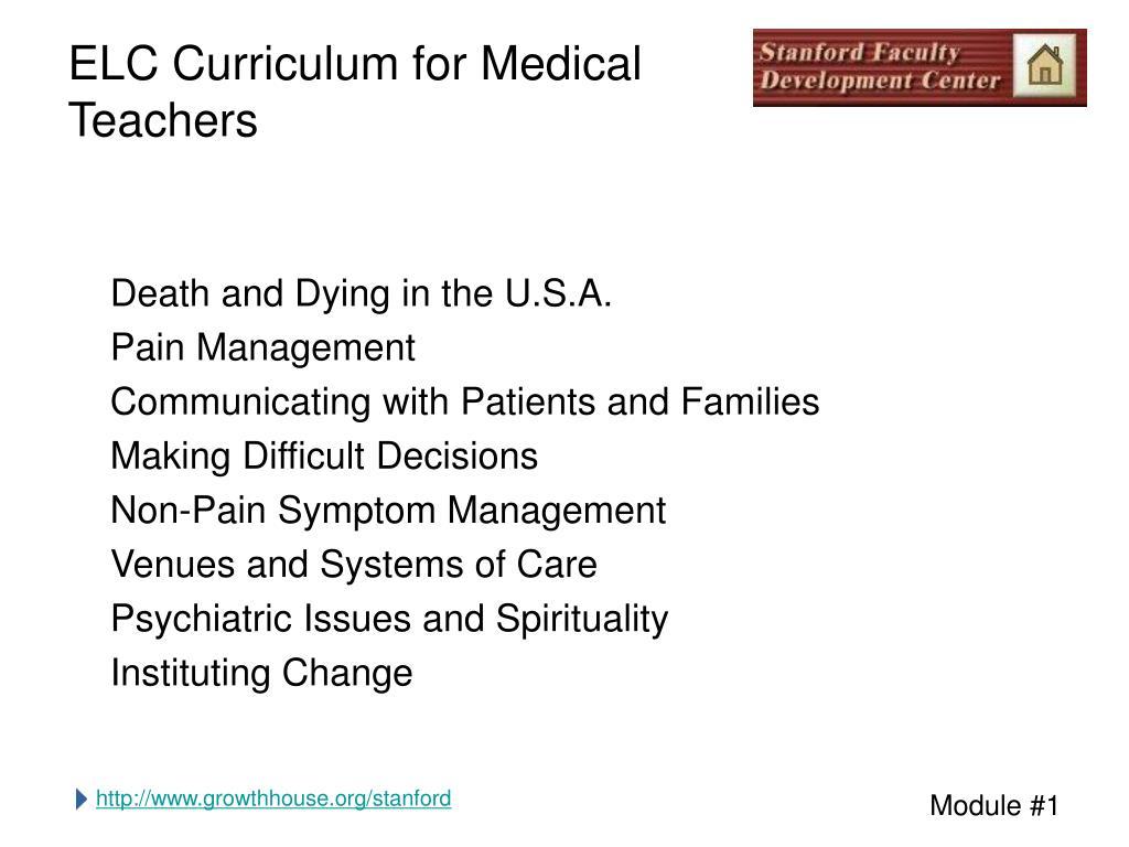 elc curriculum for medical teachers l.