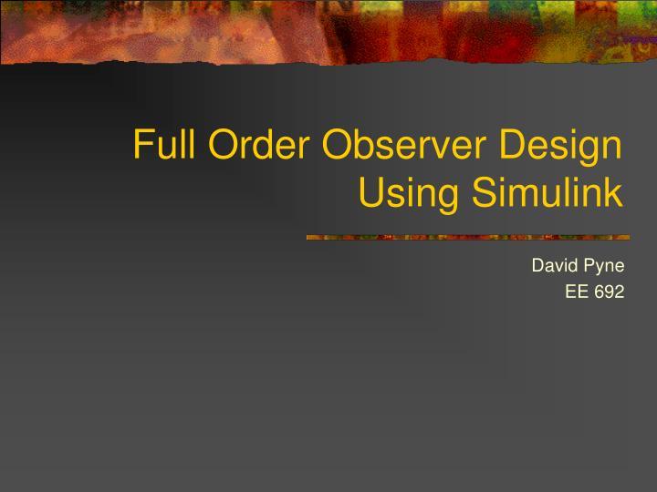 full order observer design using simulink n.