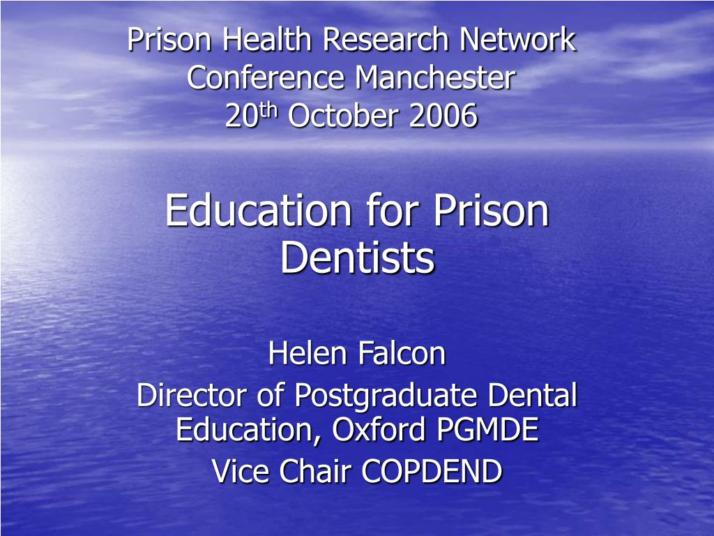 prison health research network conference manchester 20 th october 2006 l.