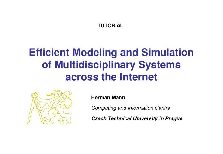 efficient modeling and simulation of multidisciplinary systems across the internet n.