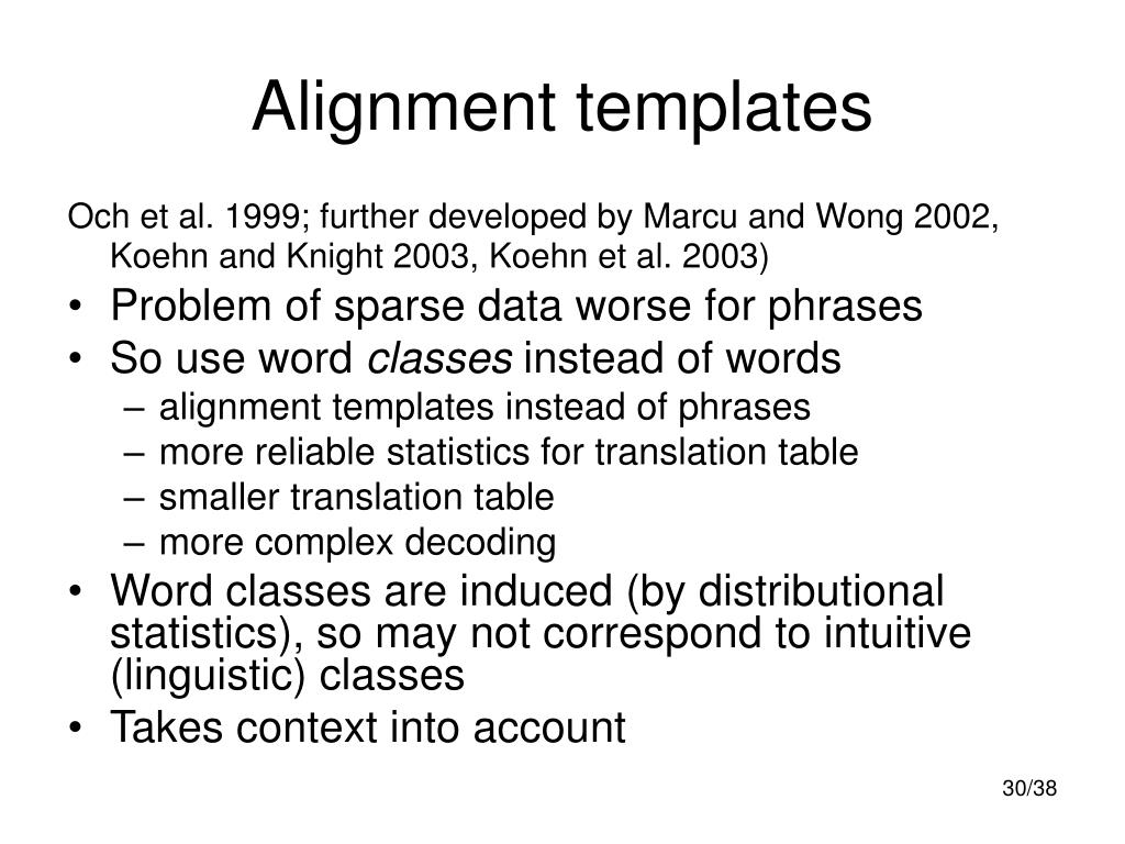 Alignment templates
