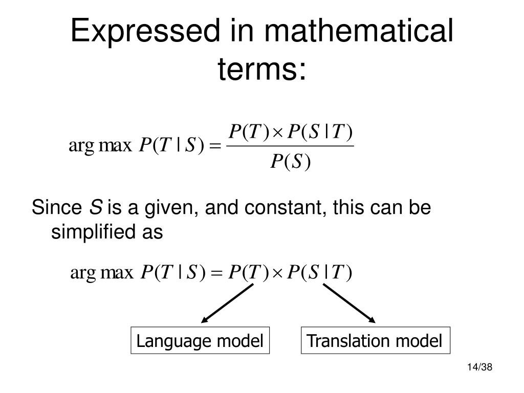 Expressed in mathematical terms: