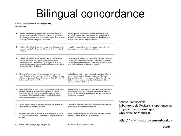 Bilingual concordance