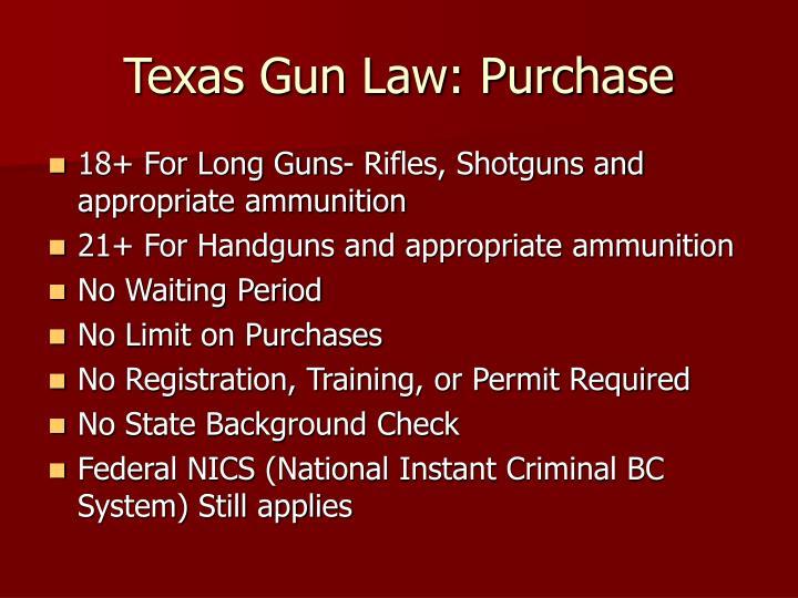 Texas Gun Law: Purchase