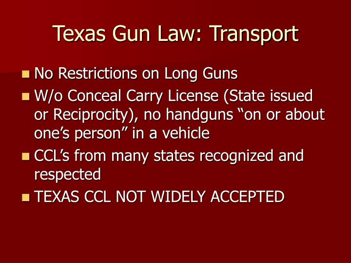 Texas Gun Law: Transport