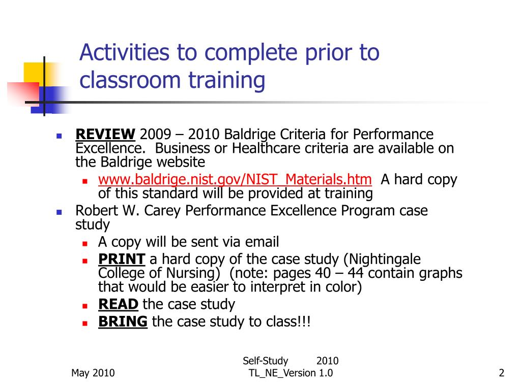 Activities to complete prior to classroom training