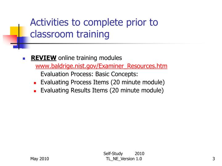 Activities to complete prior to classroom training3