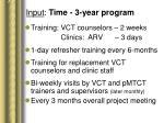 input time 3 year program