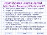 lessons studied lessons learned35