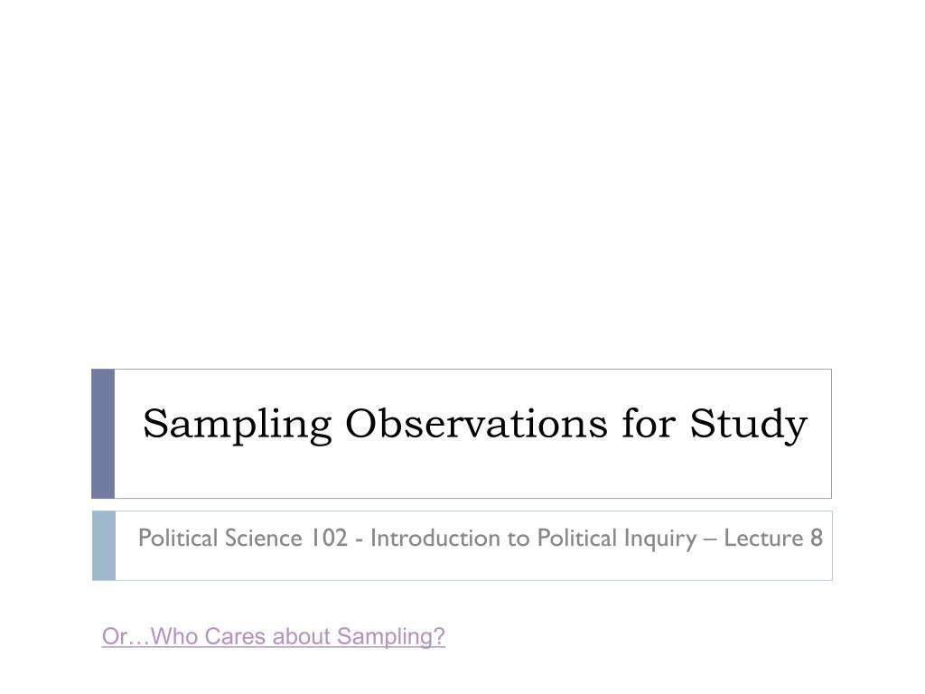 sampling observations for study l.