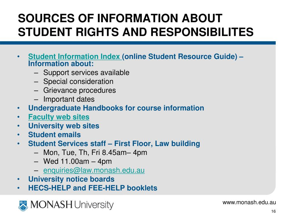 SOURCES OF INFORMATION ABOUT STUDENT RIGHTS AND RESPONSIBILITES