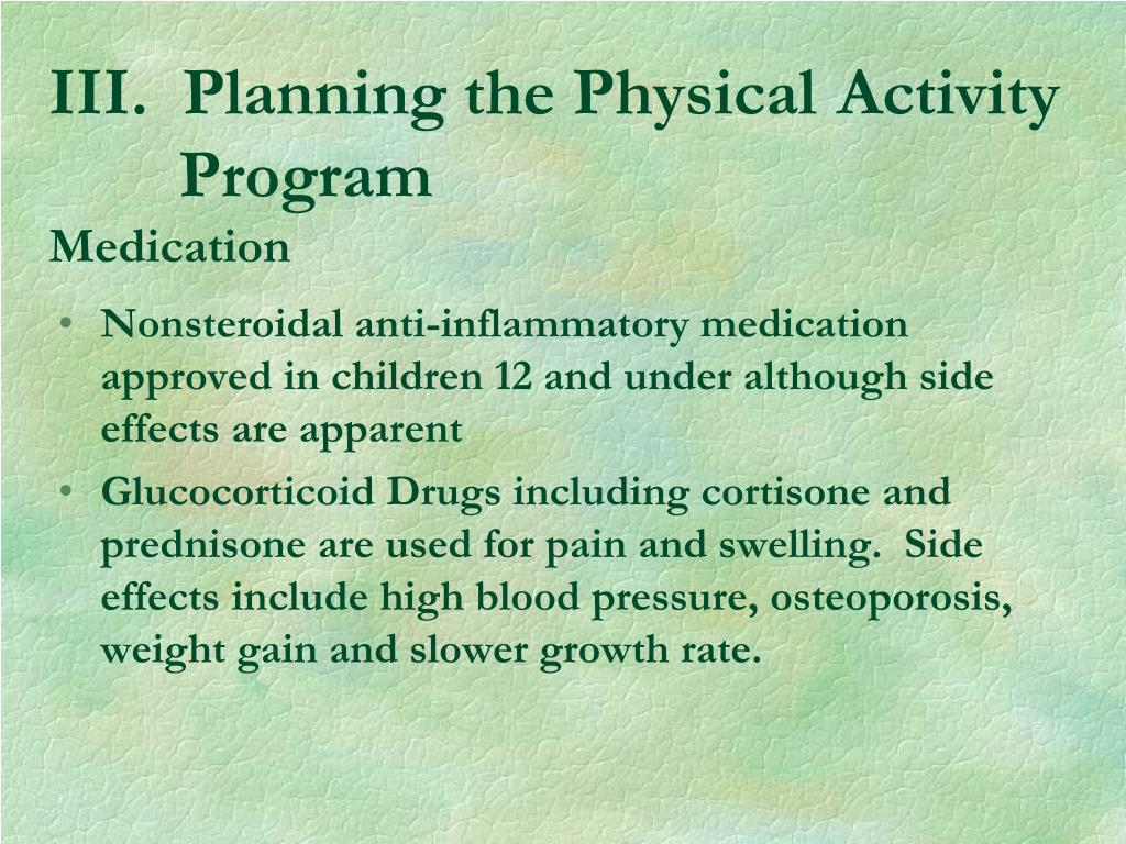 III.  Planning the Physical Activity  Program