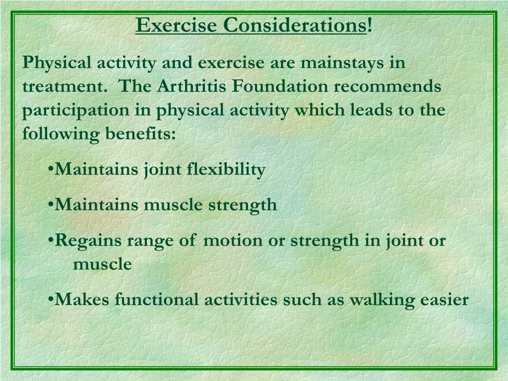 Exercise Considerations
