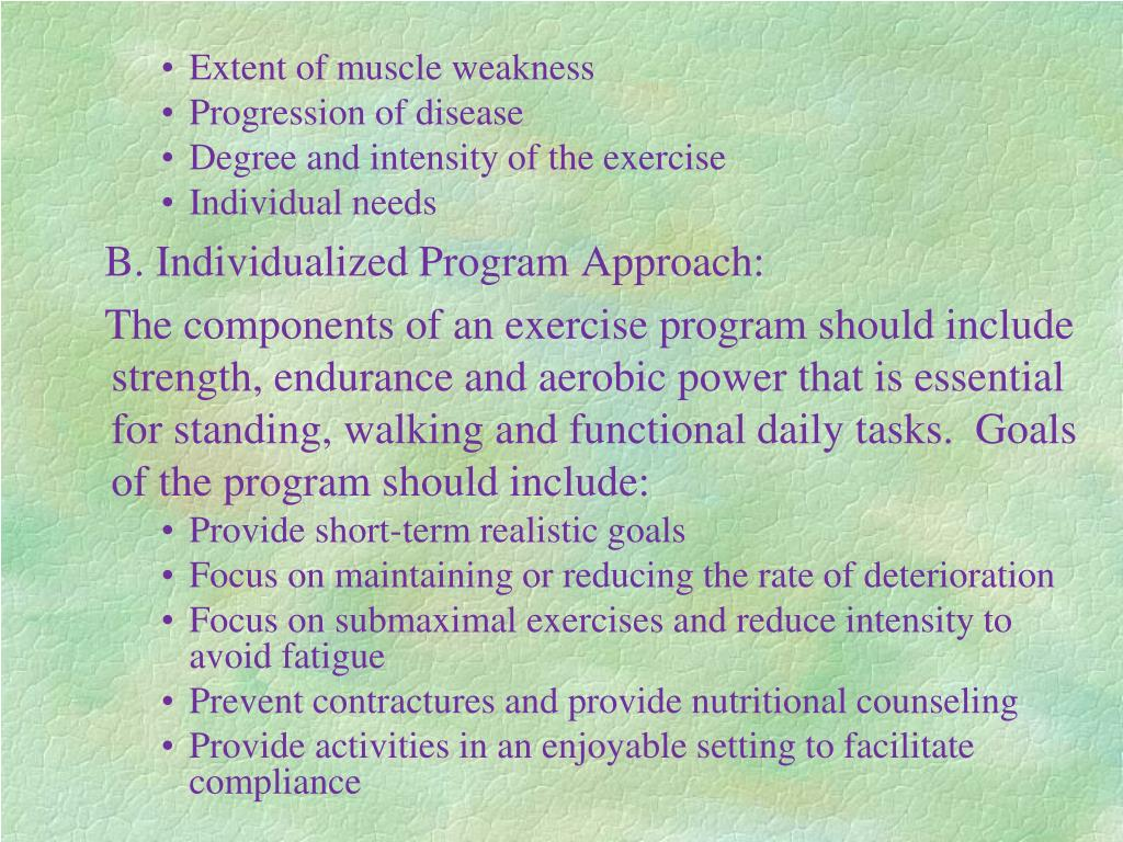 Extent of muscle weakness