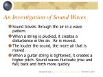 an investigation of sound waves