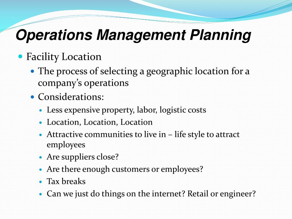 Operations Management Planning