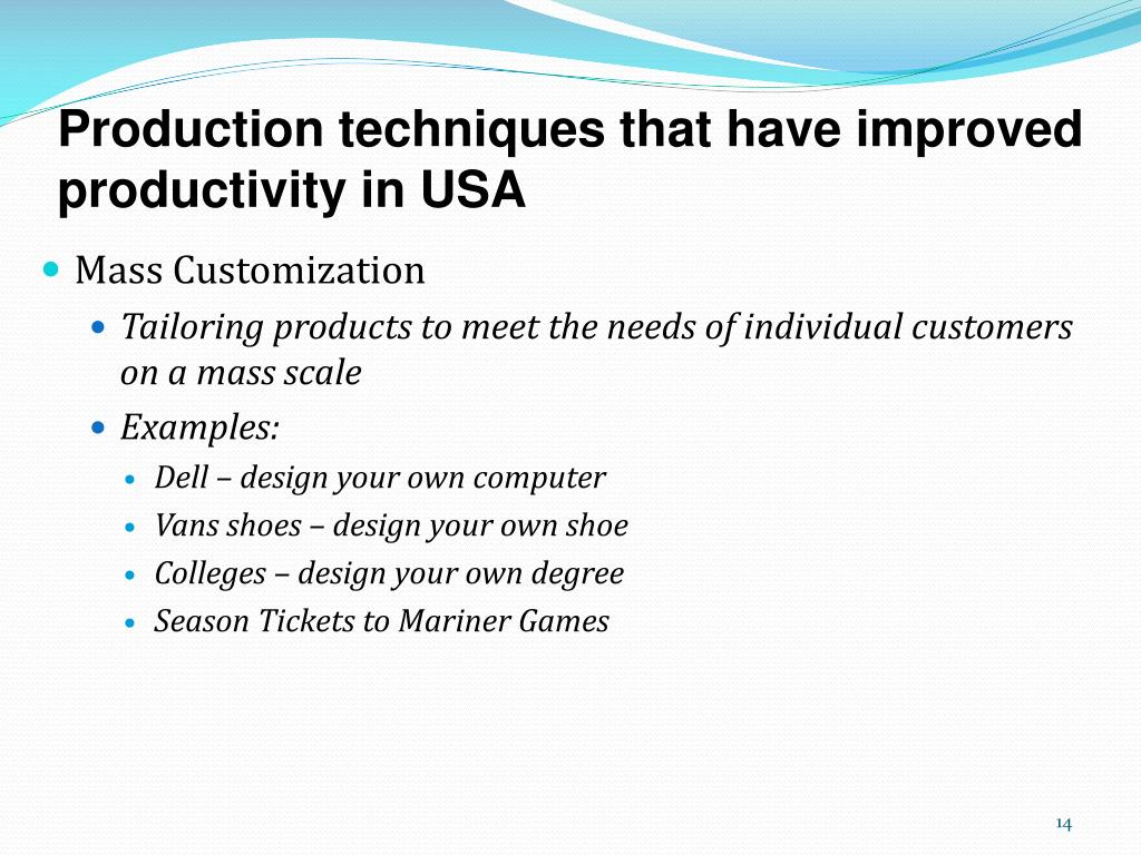 Production techniques that have improved productivity in USA