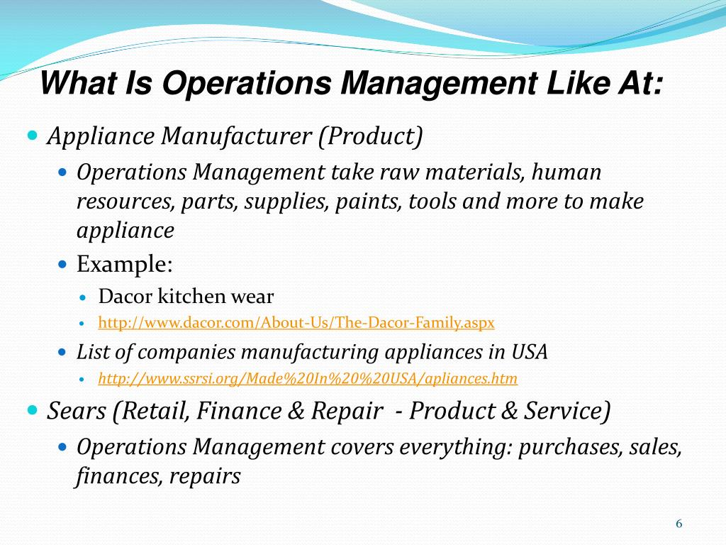 What Is Operations Management Like At: