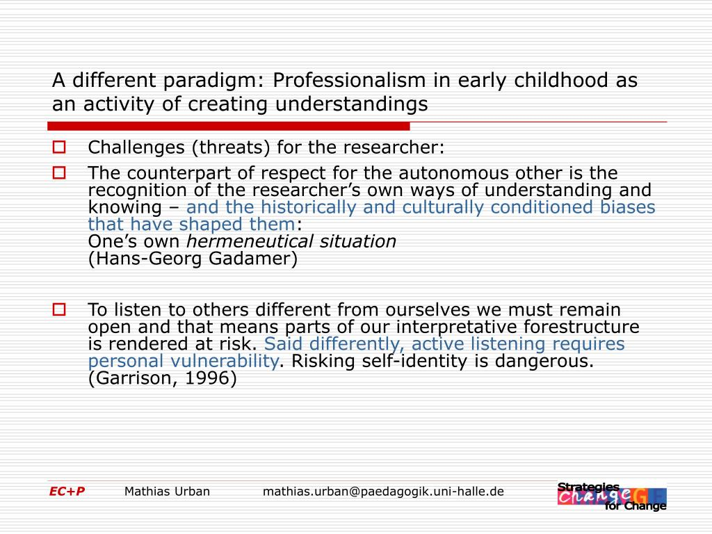 A different paradigm: Professionalism in early childhood as an activity of creating understandings