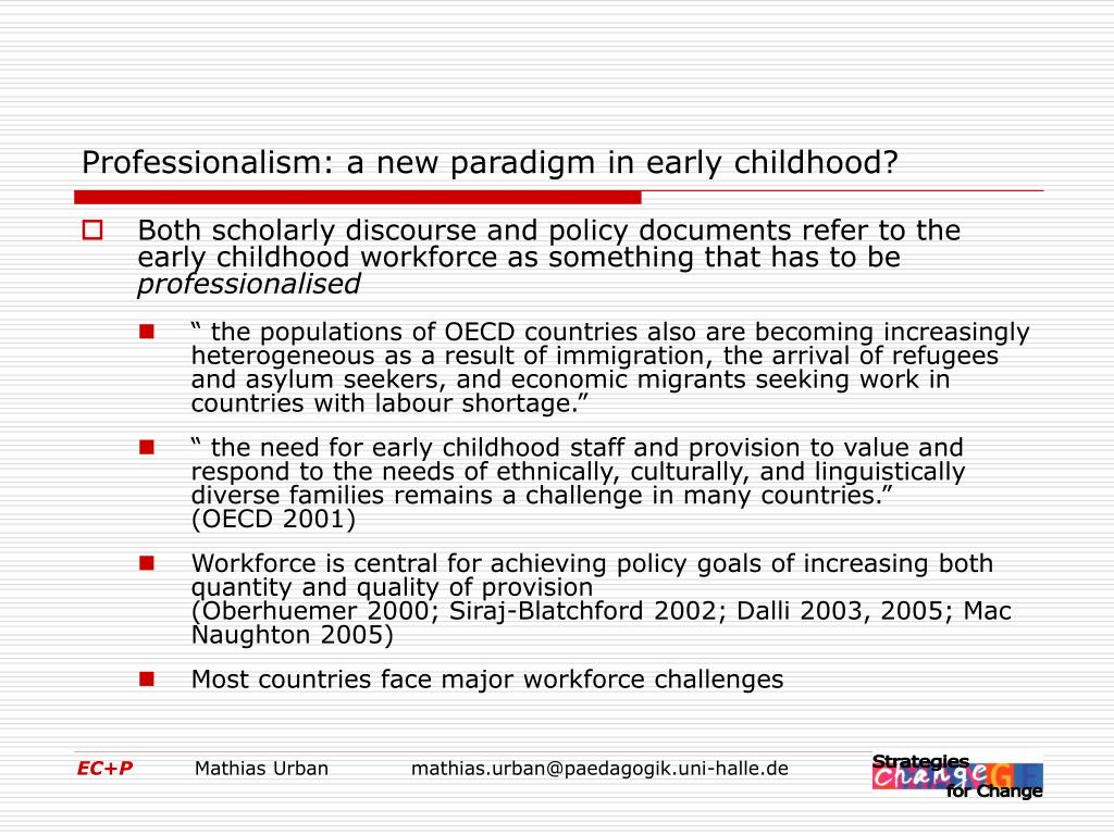 Professionalism: a new paradigm in early childhood?