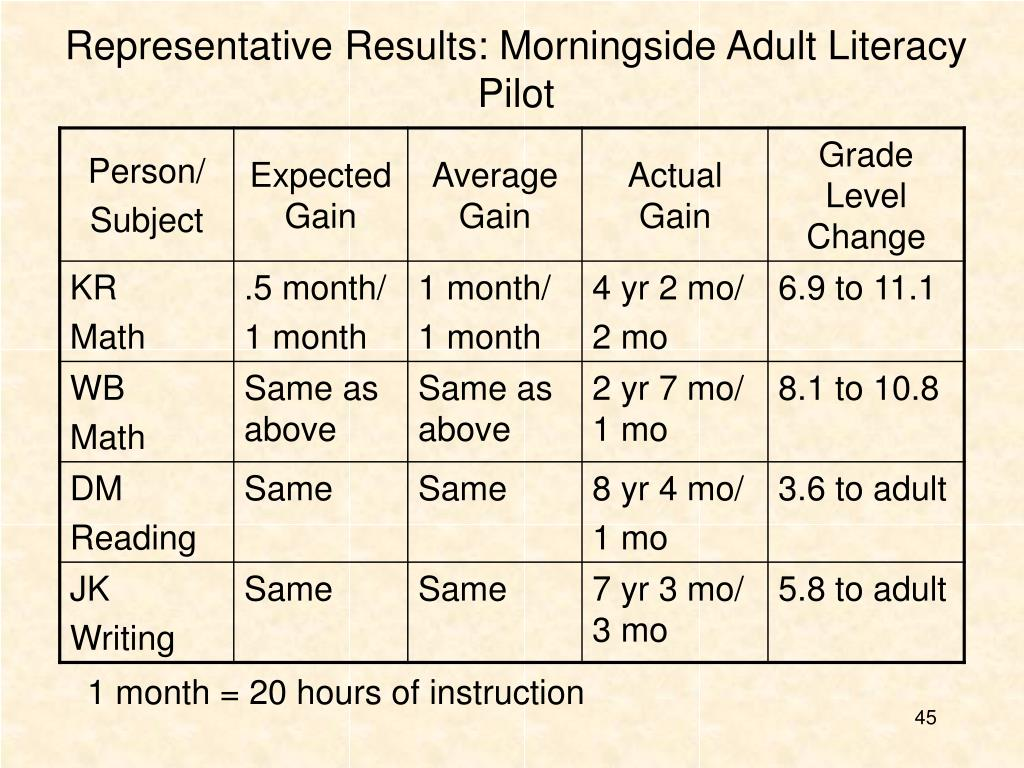 Representative Results: Morningside Adult Literacy Pilot