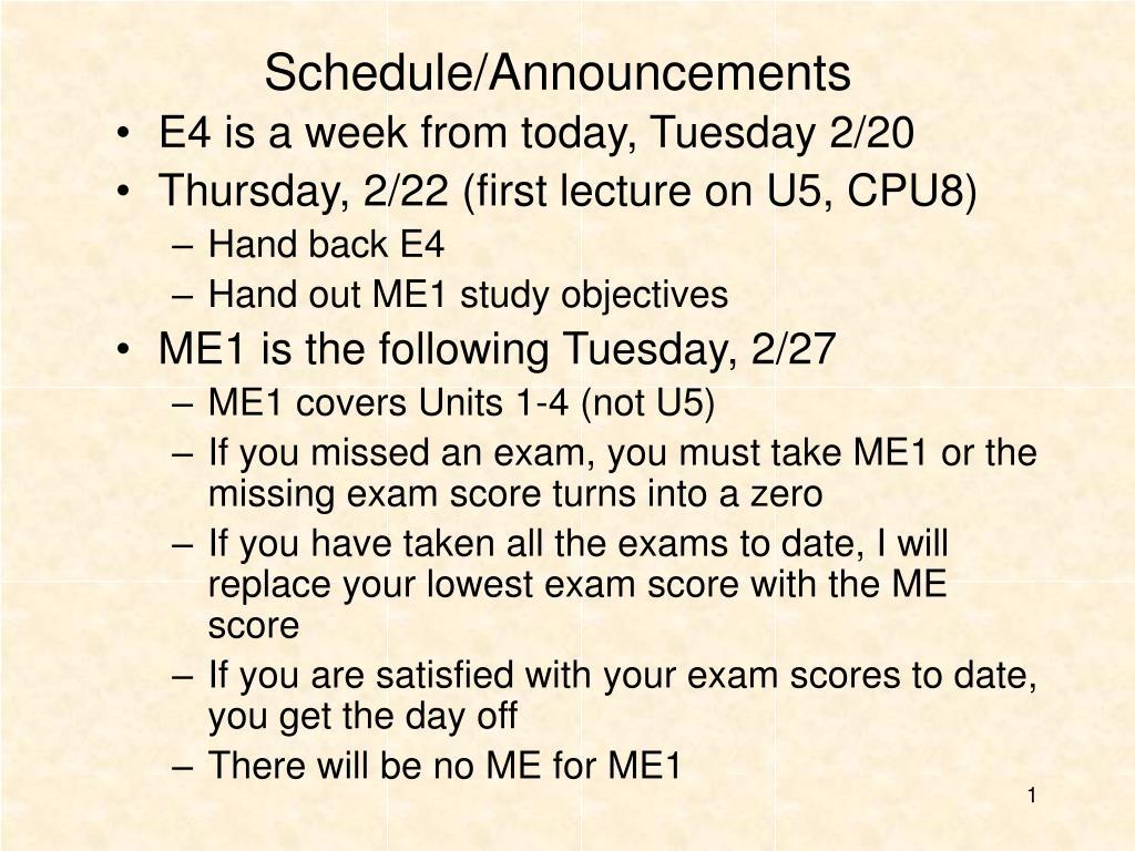 schedule announcements l.
