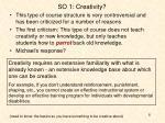 so 1 creativity