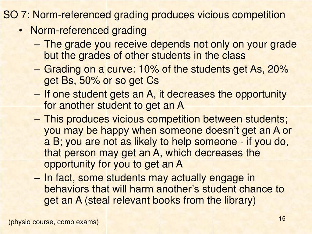 SO 7: Norm-referenced grading produces vicious competition