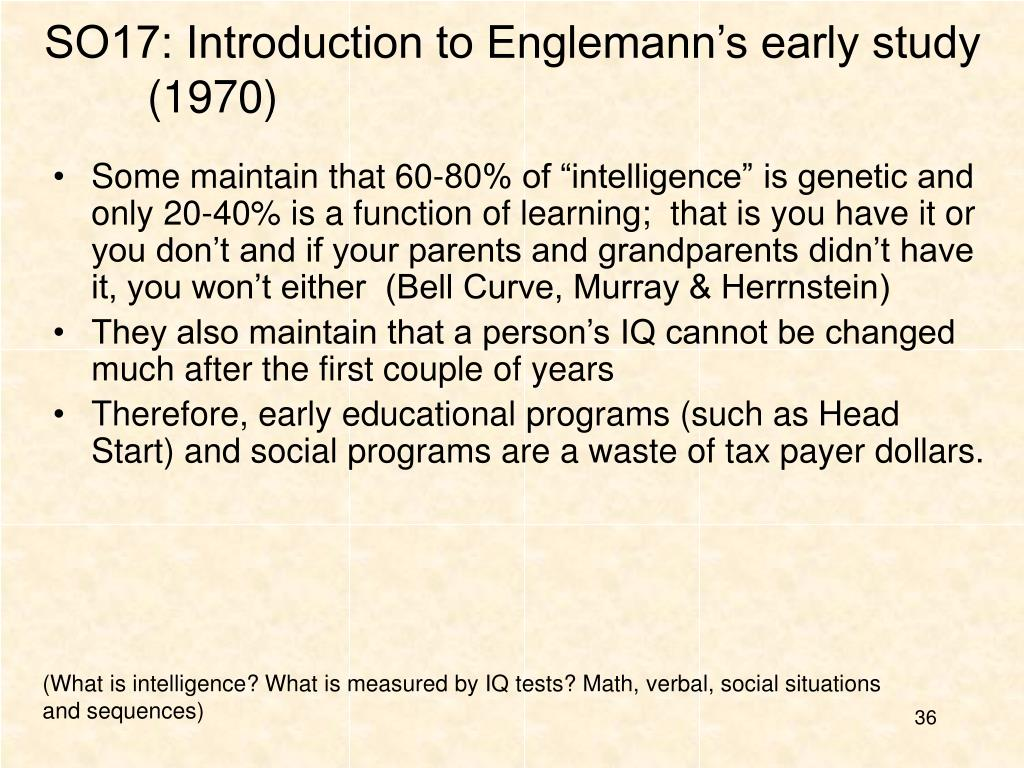 SO17: Introduction to Englemann's early study (1970)