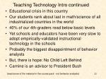 teaching technology intro continued
