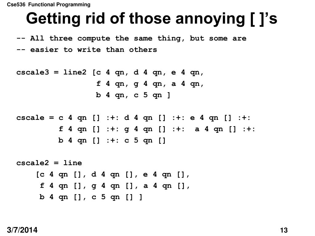Getting rid of those annoying [ ]'s