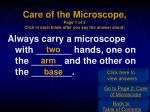 care of the microscope page 1 of 3 click in each blank after you say the answer aloud