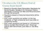 on what is the u s history end of course exam based