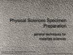 physical sciences specimen preparation