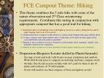 fce campout theme hiking