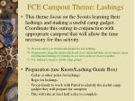 fce campout theme lashings