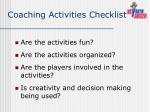 coaching activities checklist