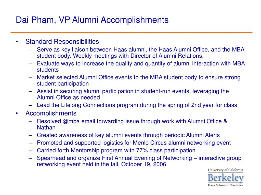 Dai Pham, VP Alumni Accomplishments