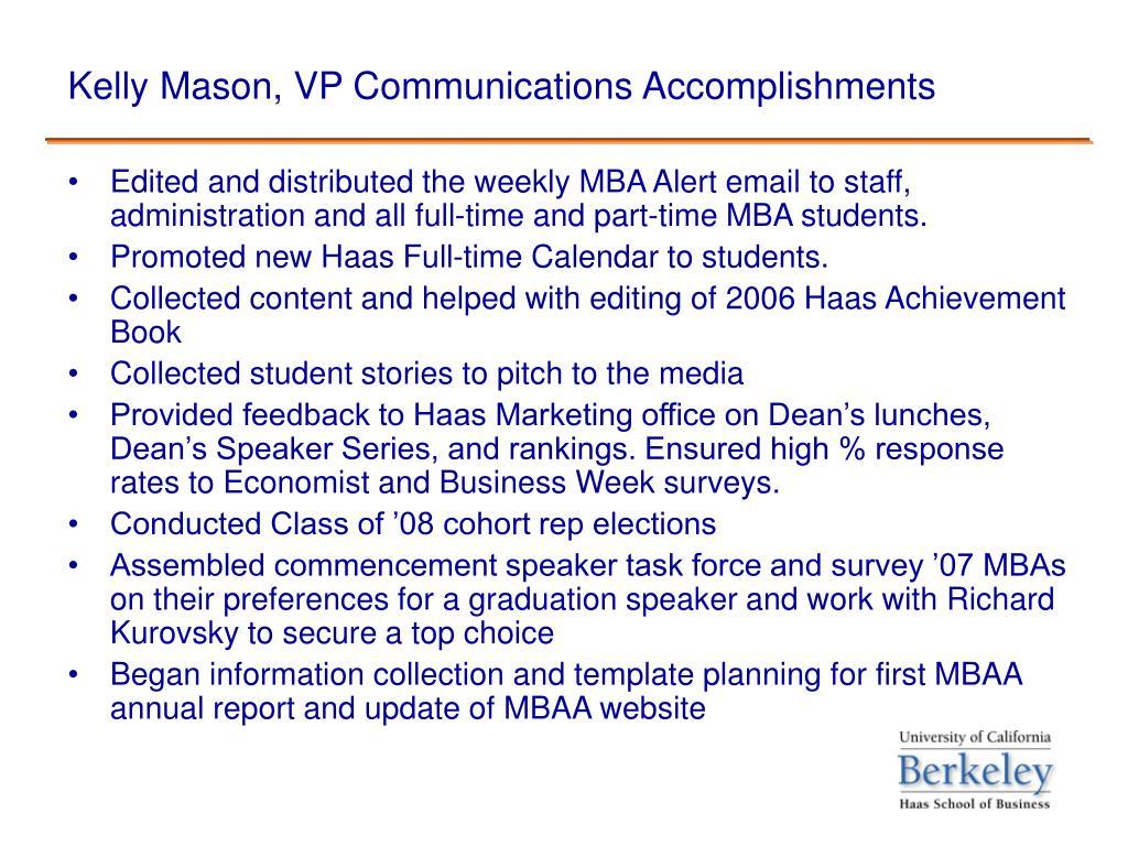 Kelly Mason, VP Communications Accomplishments