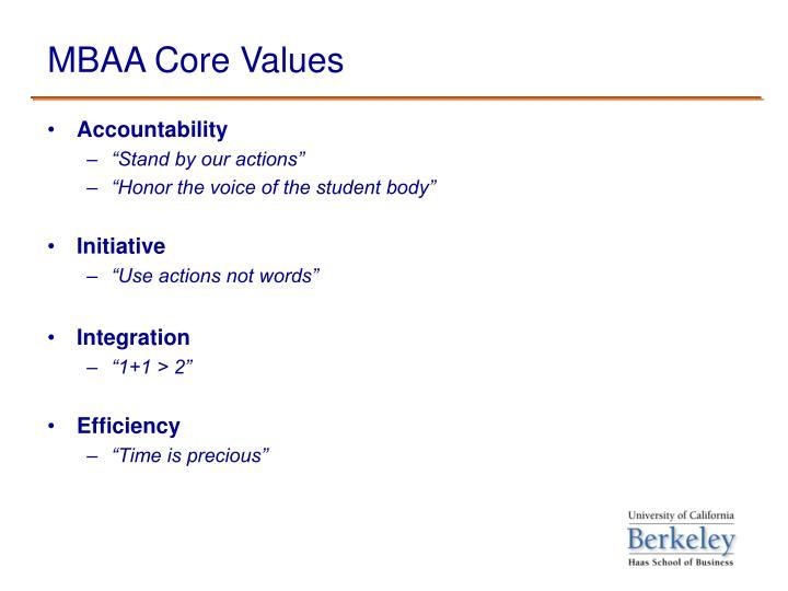 Mbaa core values