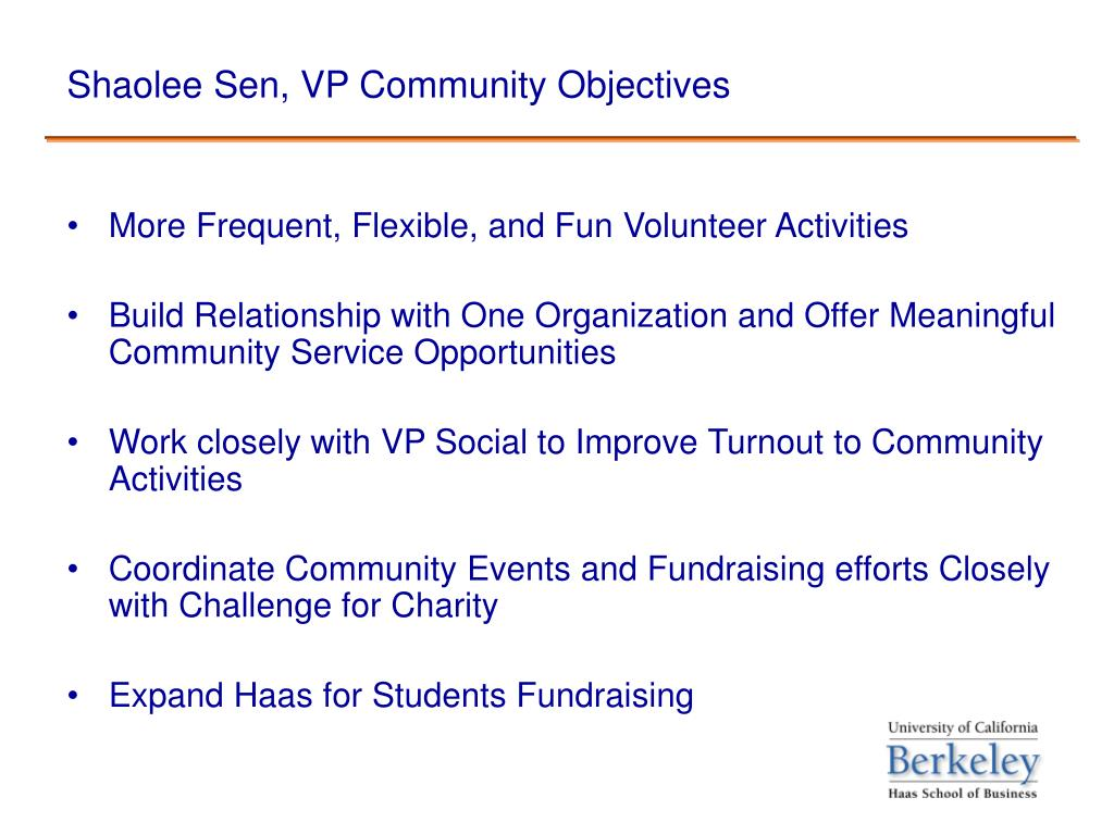 Shaolee Sen, VP Community Objectives
